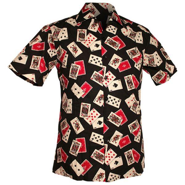 Chenaski | Overhemd korte mouw, Cards zwart