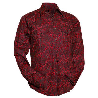 Foto van Chenaski   Cowboy overhemd zwart rode Paisley Ornamentical