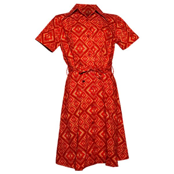 Chenaski | korte mouw 70's jurk, Rhombus rust
