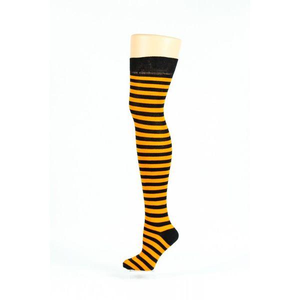 Flirt | Overknee sokken zwart okergeel gestreept