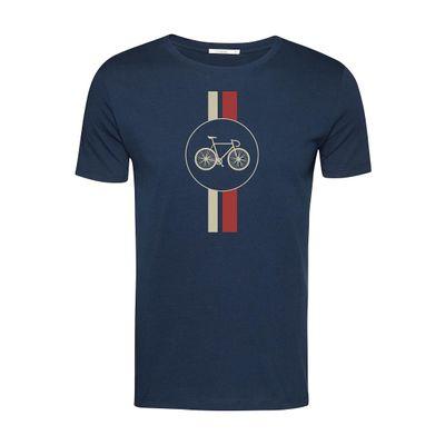 Foto van Green Bomb | T-shirt Bike Highway, bio katoen navy blauw