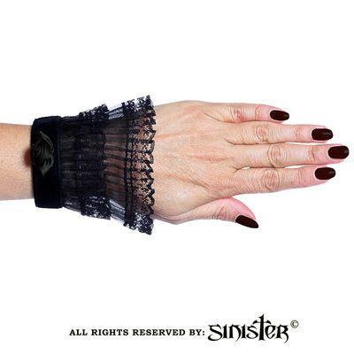 Foto van Sinister | Cuffs Lily, zwart met tule kant en roosje
