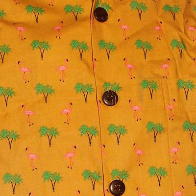 Foto van Chenaski | Overhemd korte mouw, Flamingo mosterd