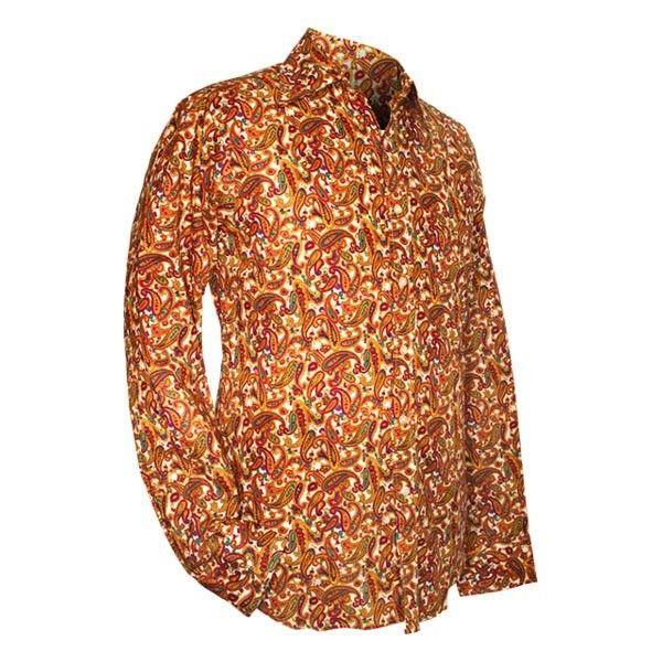 Chenaski   overhemd seventies, Paisley, creme
