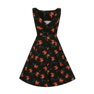 Foto van Collectif swingjurk Hepburn Midnight zwart met oranje lelies