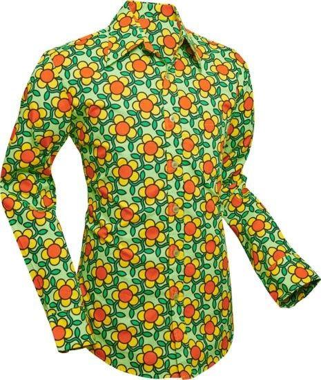 Chenaski   overhemd Seventies Flowergrid, green