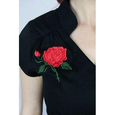Foto van Blouse Khrystine 50's, met rozenborduursel