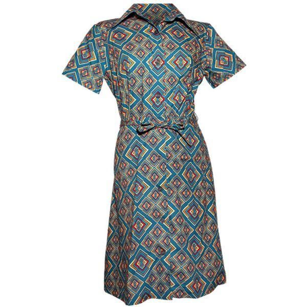 Chenaski   korte mouw 70's jurk, Rhombus turquoise