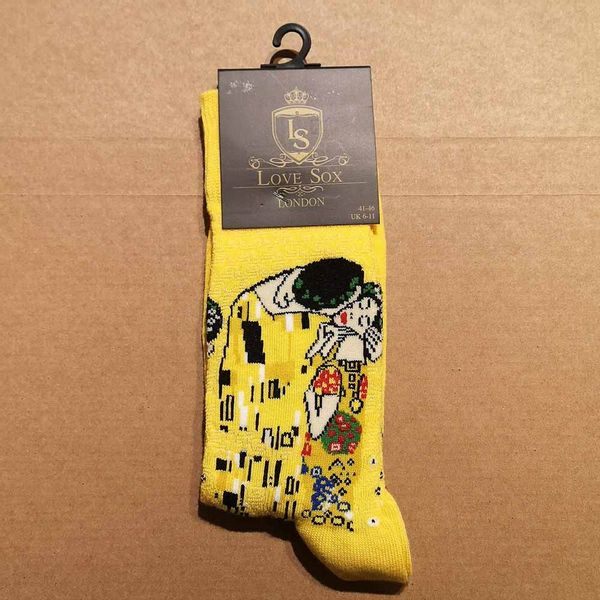 Love Sox   Sokken geel met Gustav Klimt print