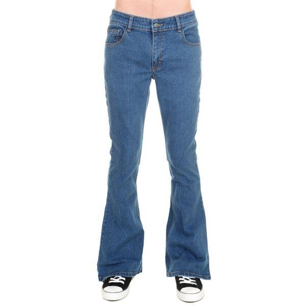 Jeans 70s vintage, stonewash blauw stretch denim