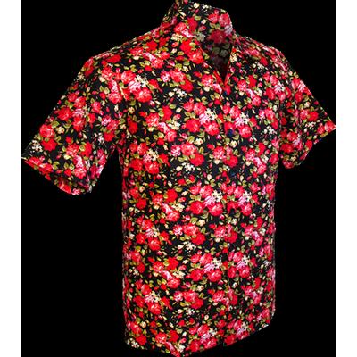 Chenaski | Overhemd korte mouw, Roses zwart rood