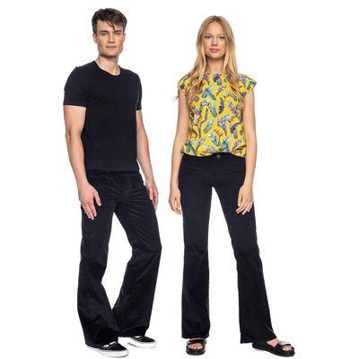 ATO Berlin | Ribcord broek met wijde pijp organic Newton, zwart