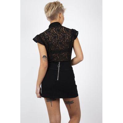 Foto van Rok Not A Romantic Rose, zwart met rozen embroidery