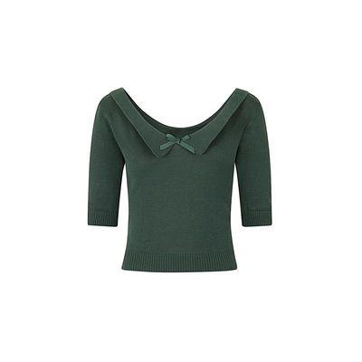 Foto van Collectif | Truitje Babette, groen met wijde V-hals en strikje