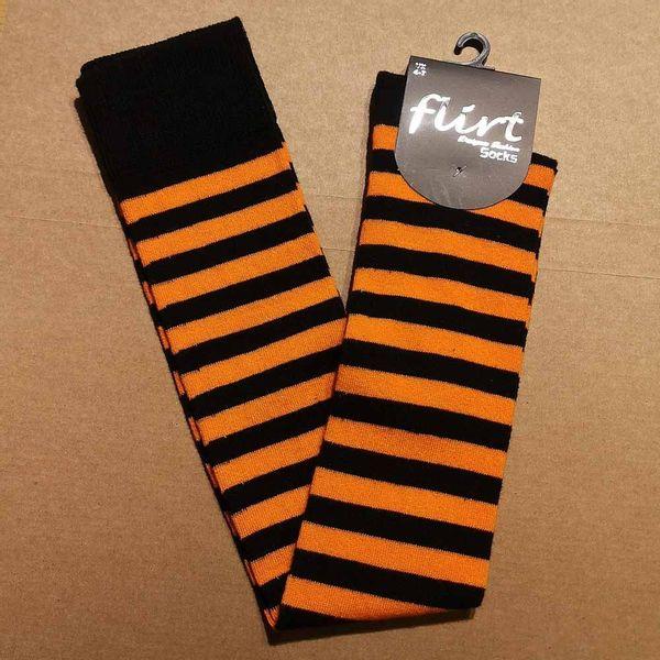 Flirt | Overknee sokken zwart oranje gestreept