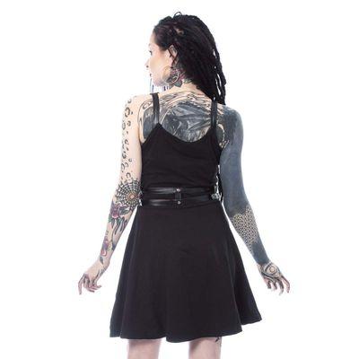 Foto van Heartless | Jurk Luna met pentagram en harnas zwart