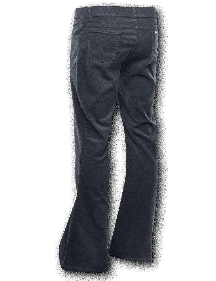 Foto van Ribcord retro broek zwart, wijde pijp normale lengte