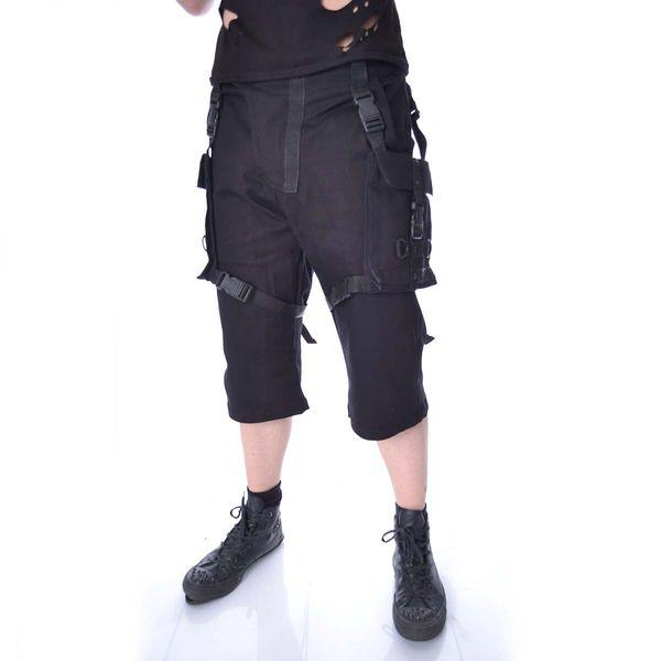 Chemical Black   Korte broek Danger met gespen zwart