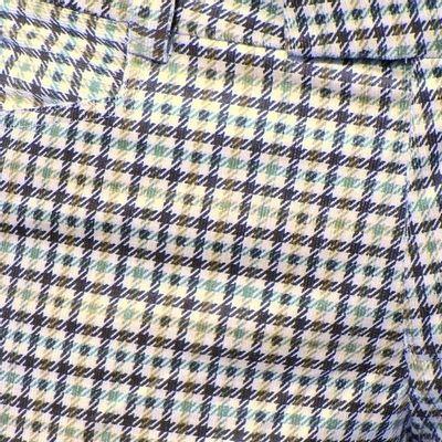 Foto van Pantalon Squares, babycord créme met bruin geruit, uitlopende pijpen