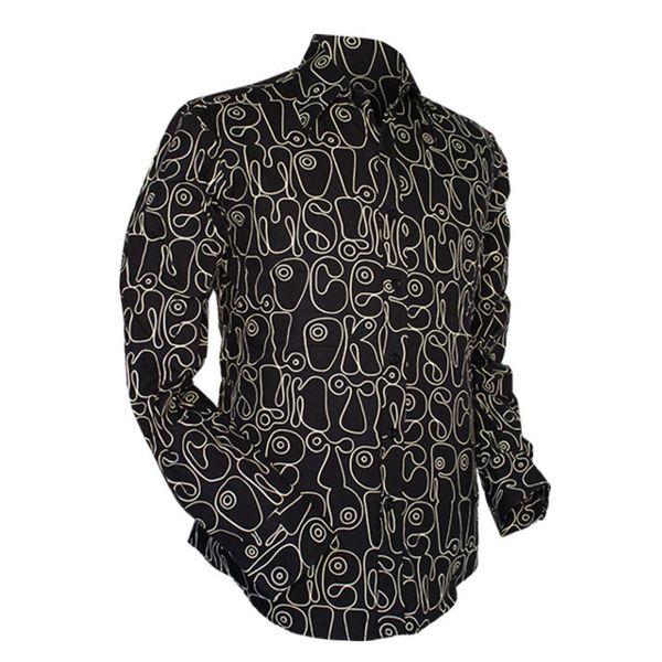 Chenaski | Zwart wit seventies overhemd Moloko