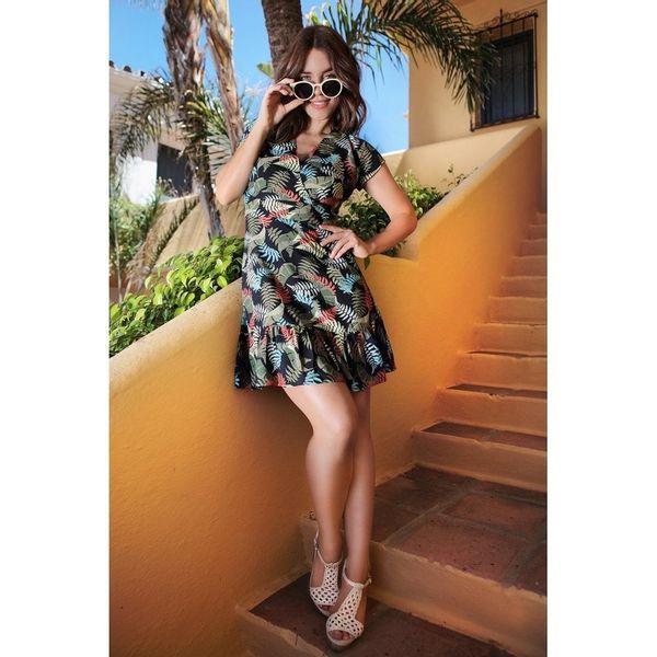 Jurk Stacy Tropical Floral, bladerenprint multikleur