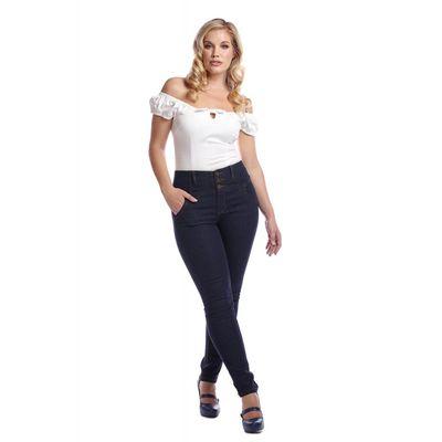 Foto van Collectif | Jeans Rebel Kate, effen stretch denim, hoge taille