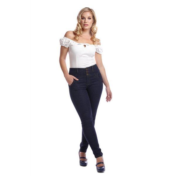 Collectif   Jeans Rebel Kate, effen stretch denim, hoge taille