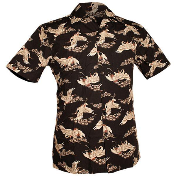 Chenaski | Overhemd korte mouw, Kraanvogels zwart