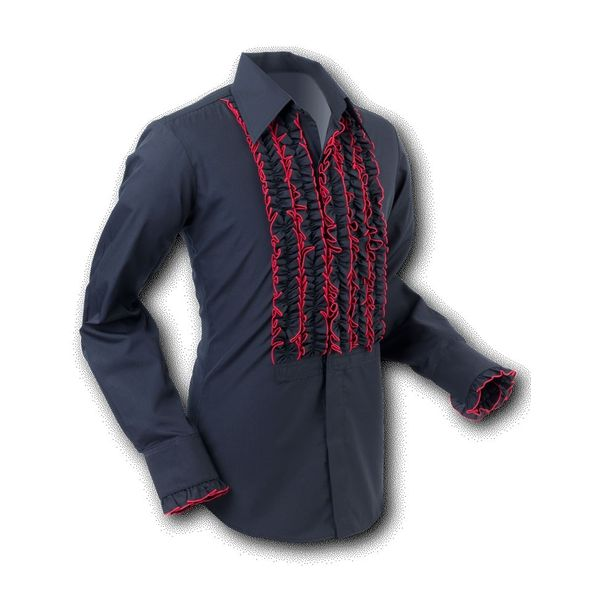 Chenaski   Overhemd ruche, black red trim
