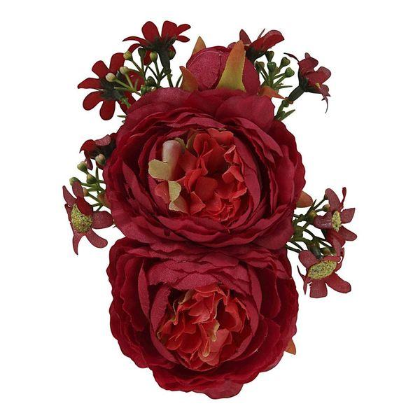 Collectif   Haarbloem en broche Lorna, rode bloemen