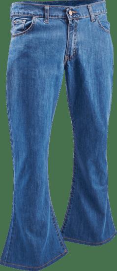 Denim retro broek classic blue, wijde pijp normale lengte
