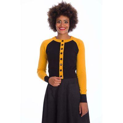 Banned | Zwarte cardigan Tiger Queen met gele details