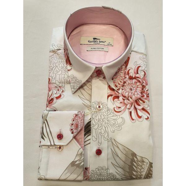 Claudio Lugli, overhemd met Kraanvogel pioenroos print