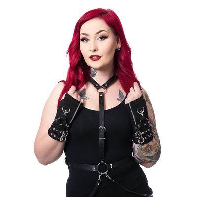 Foto van Armwarmers Ellis, met zilveren gespen en D-ringen, zwart