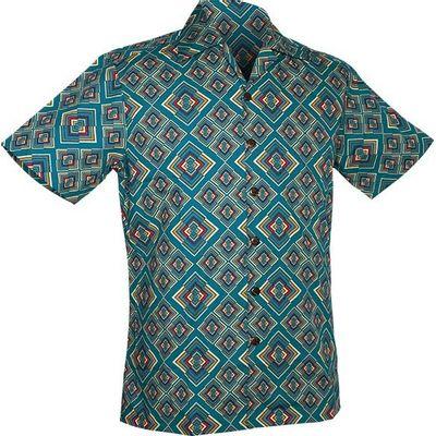 Chenaski   Overhemd korte mouw, Rhombus, turquoise