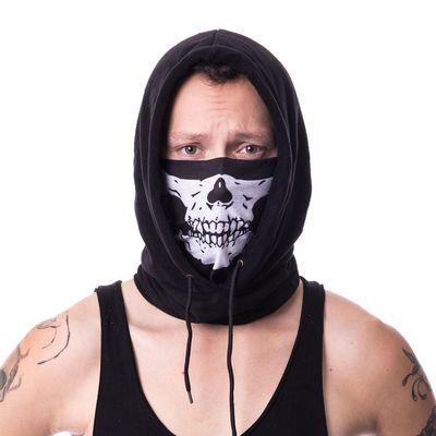 Foto van Poizen Industries | Capuchon sjaal zwart met skull print