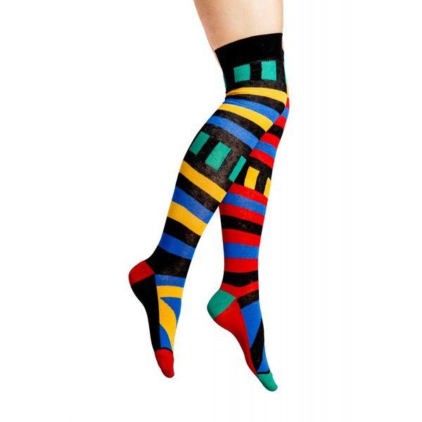 Flirt   Overknee sokken met Mondriaan print