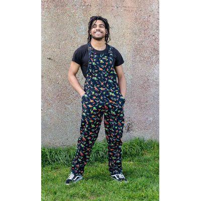 Foto van Run & Fly | Zwarte tuinbroek met regenboog dino print, unisex