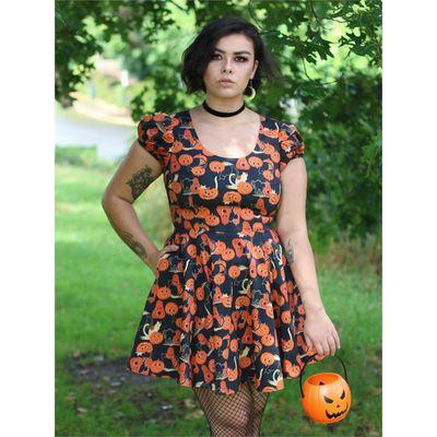 Foto van Collectif | Skater jurk Zita met oranje pumpkins en zwarte katjes
