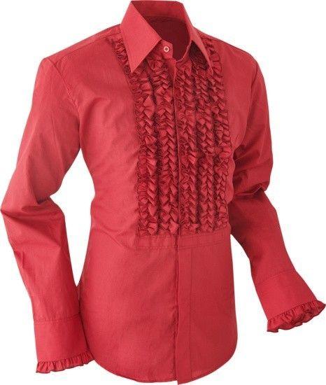 Chenaski   Overhemd ruche, burgundy met dark burgundy trim
