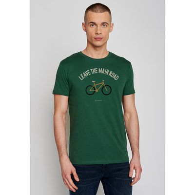 Foto van Green Bomb | T-shirt bottle green Bike leave road, bio katoen