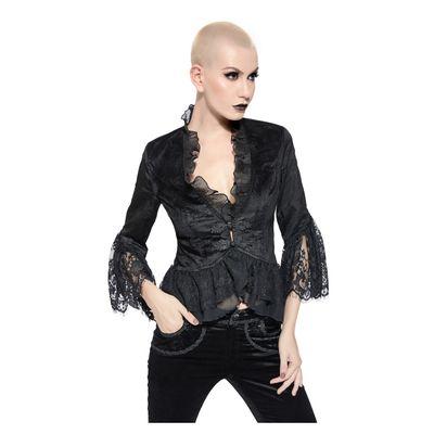 Foto van Pentagramme | Fluweel Gothic jasje zwart met lange mouw en kant