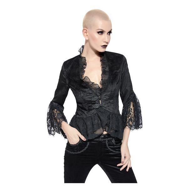 Pentagramme | Fluweel Gothic jasje zwart met lange mouw en kant