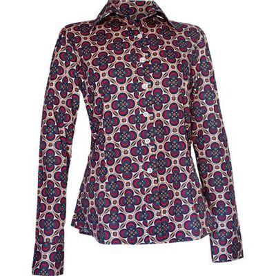 Chenaski | dames blouse Dotsgrid, creme petrol