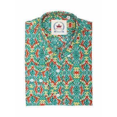 Foto van Overhemd met lange mouw, met groen rood retro patroon