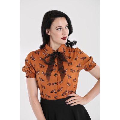 Foto van Hell Bunny | Oranje bruine blouse Vixey met vosjes