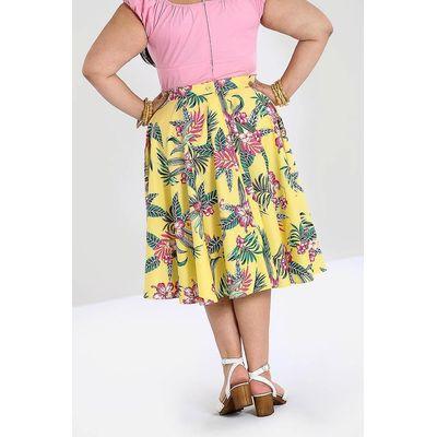 Foto van Rok Kalani, 50's, met bloemenprint, geel
