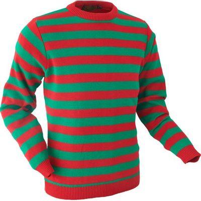 Chenaski | Retro trui, groen rood gestreept