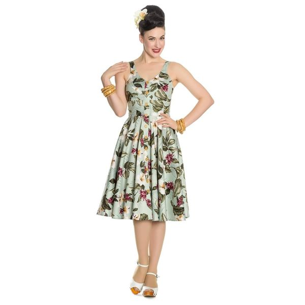 Hell Bunny   Jurk Tahiti groen 50's dress