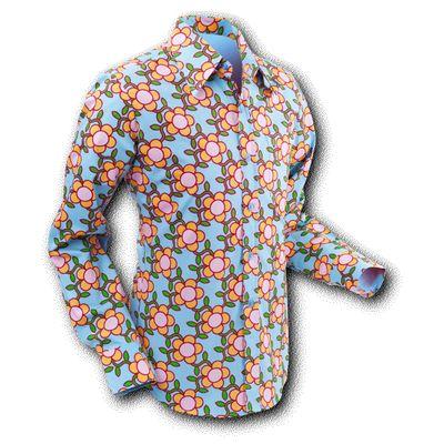 Chenaski | overhemd Seventies Flowergrid Blue